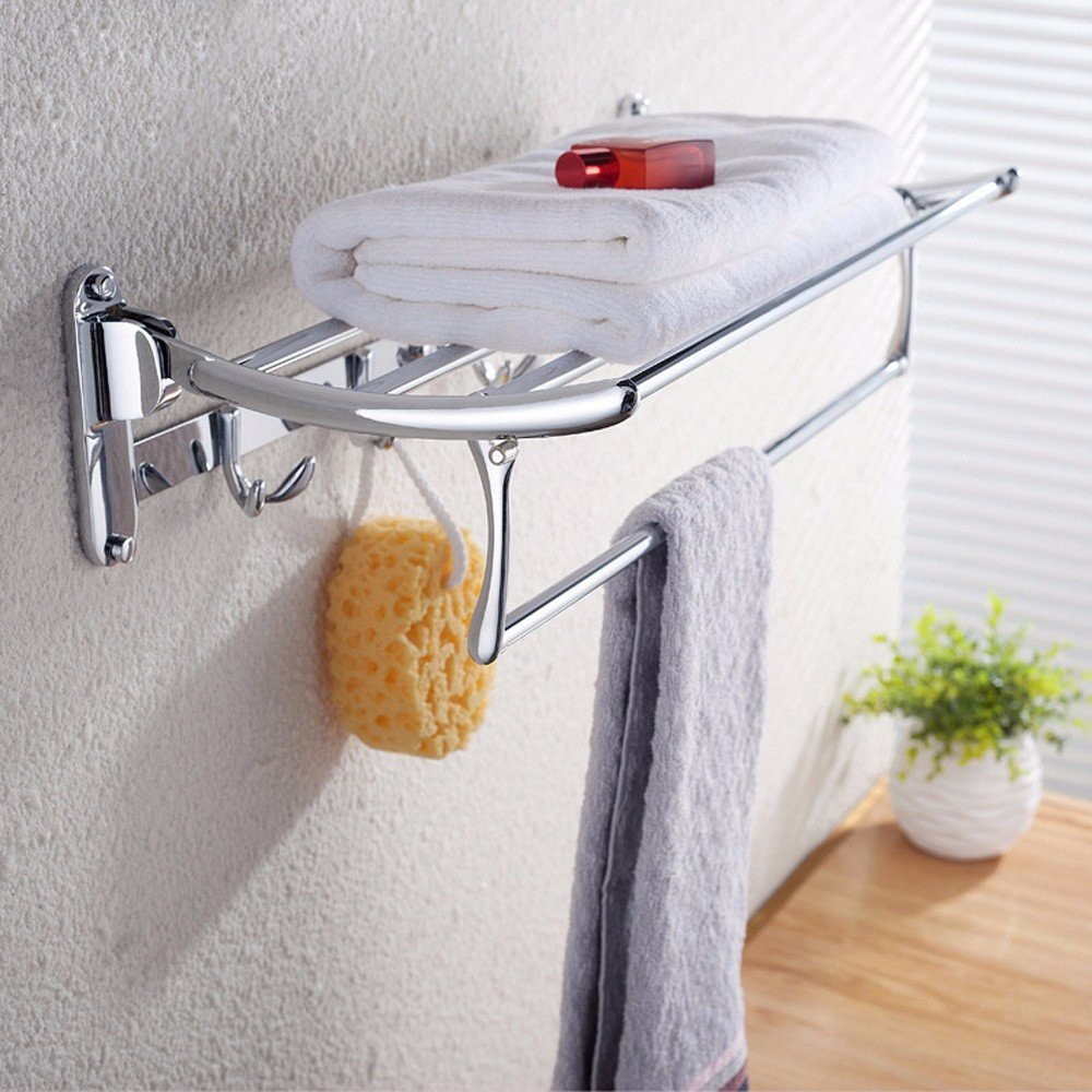 80%OFF KHSKX Stainless steel bathroom Towel rack folding racks thickened bathroom accessories bathroom Towel rack