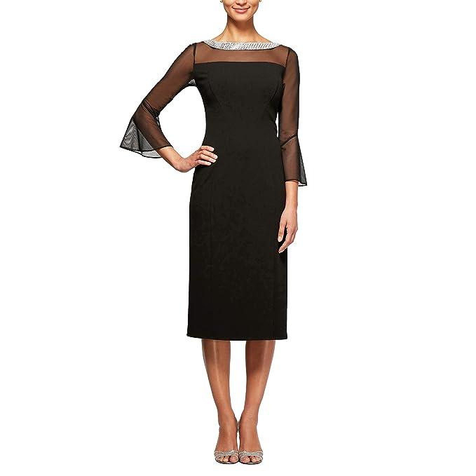 f49ff6badae7fd Alex Evenings Women's Long Shift Dress Illusion Neckline (Petite and  Regular), Black,