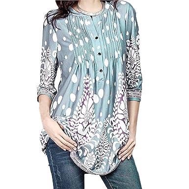 596e74bd531c9d DOINSHOP Summer Blouse Womens Floral Printed Tunic Shirts 3/4 Roll Sleeve  Button Layered Notch