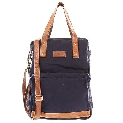 Rucksack & Umhängetasche in einem für Damen & Herren Retro Backpack Canvas + echtes Leder Bodybag DIN A4 Schultertasche 2in1 Freizeitrucksack 28x37x13cm navy LE1014-C Leconi 96XCjkAtkS
