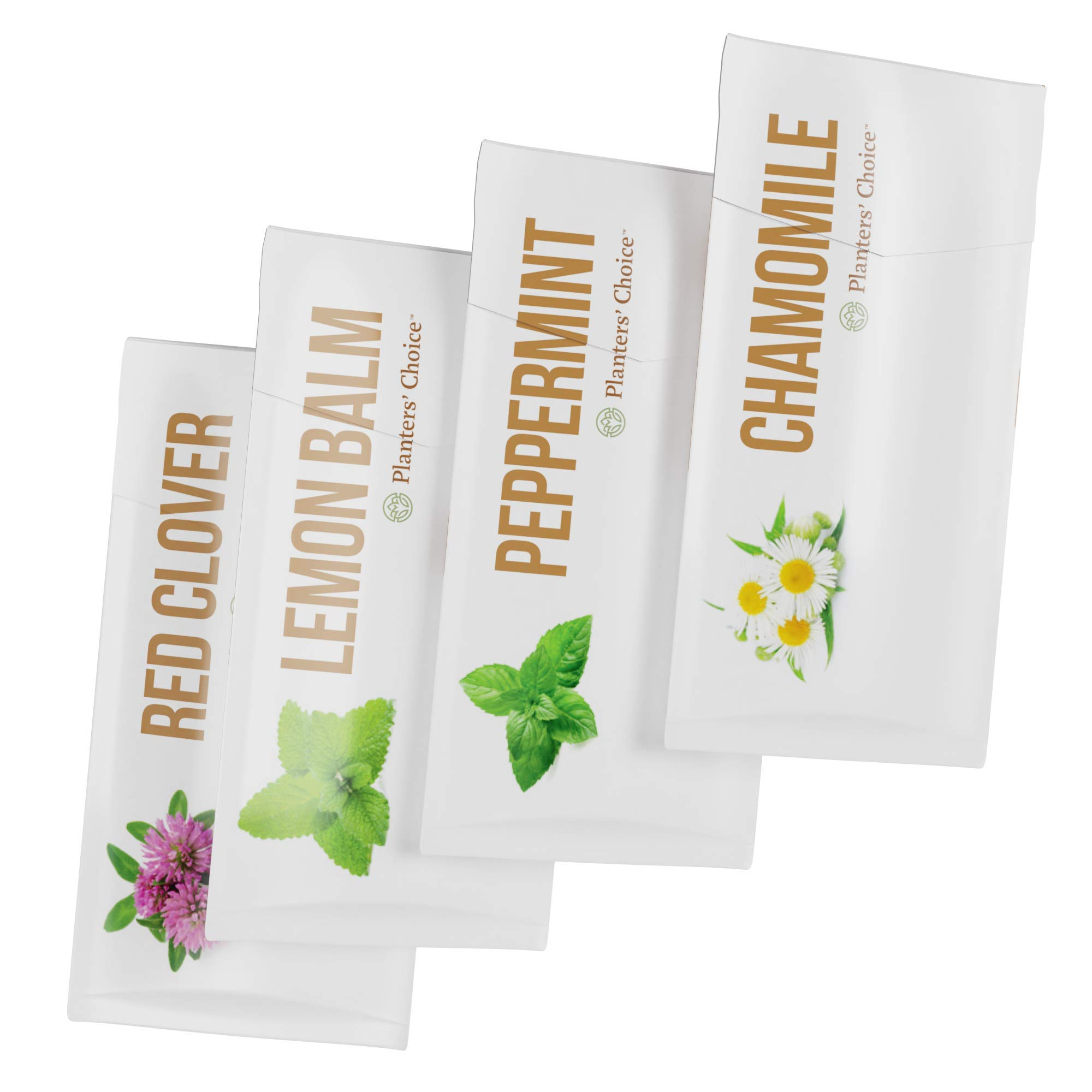 Grow 4 of Your Own Organic Herbal Tea Kit + Stainless Steel Tea Infuser | Chamomile, Peppermint, Lemon Balm, Red Clover | Everything Included: Pots, Soil, Seeds, Booklet, Bamboo Plant Labels by Planters' Choice (Image #8)