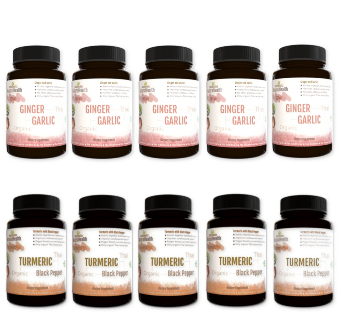 Combination Pack: Botaniceutics Organic Ginger and Garlic & Turmeric and Black Pepper 500 mg - 10 Bottle Set - 900 Capsules Circulatory Health from Natural Ginger, Turmeric Curcumin and Garlic Allium