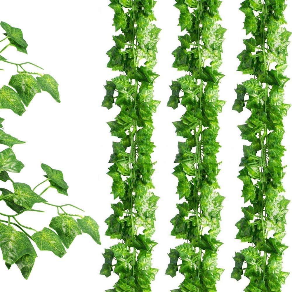 SOMONEY 15 paquetes de 105 pies Plantas Hiedra Artificial Decoración Interior y Exterior Guirnalda Hiedra Artificial De Hogar Boda Jardín Valla Escalera Ventana para Decoración
