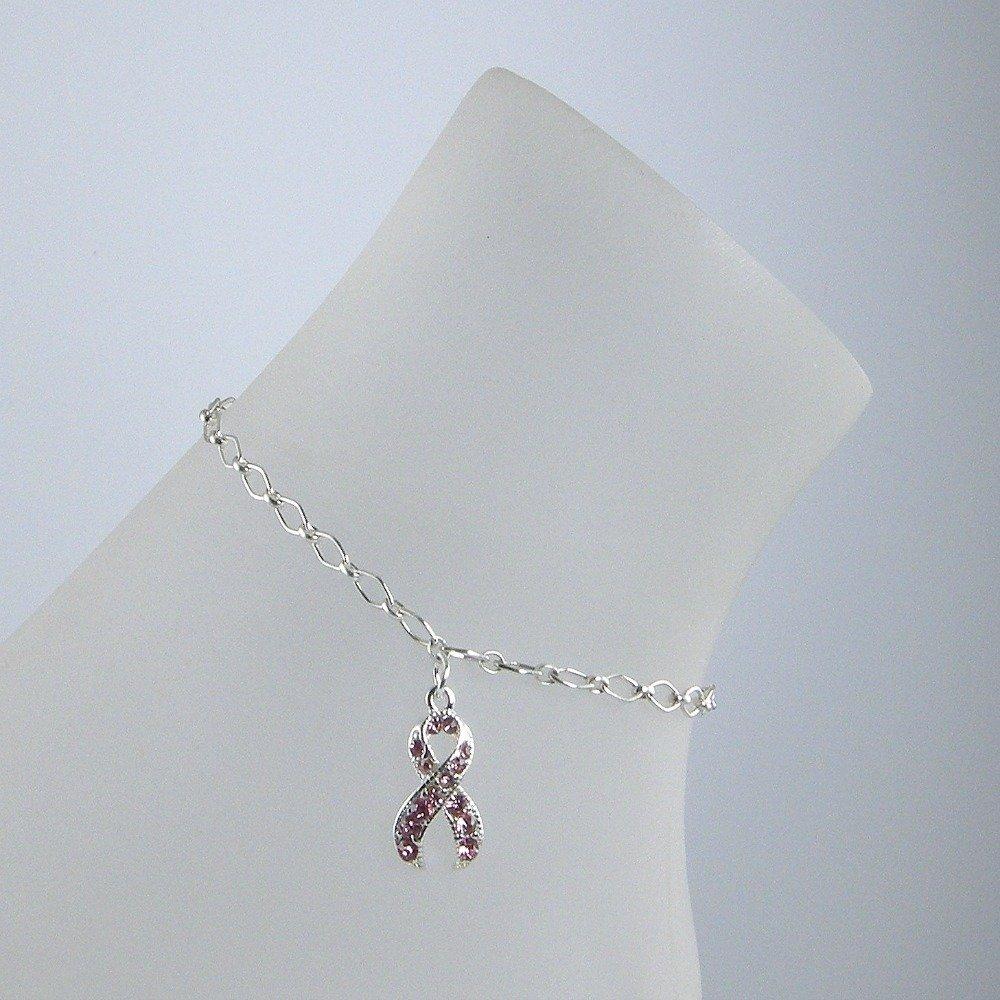 Pink Crystal Breast Cancer Awareness Ribbon Sterling Silver Chain Anklet, Breast Cancer Ankle Bracelet