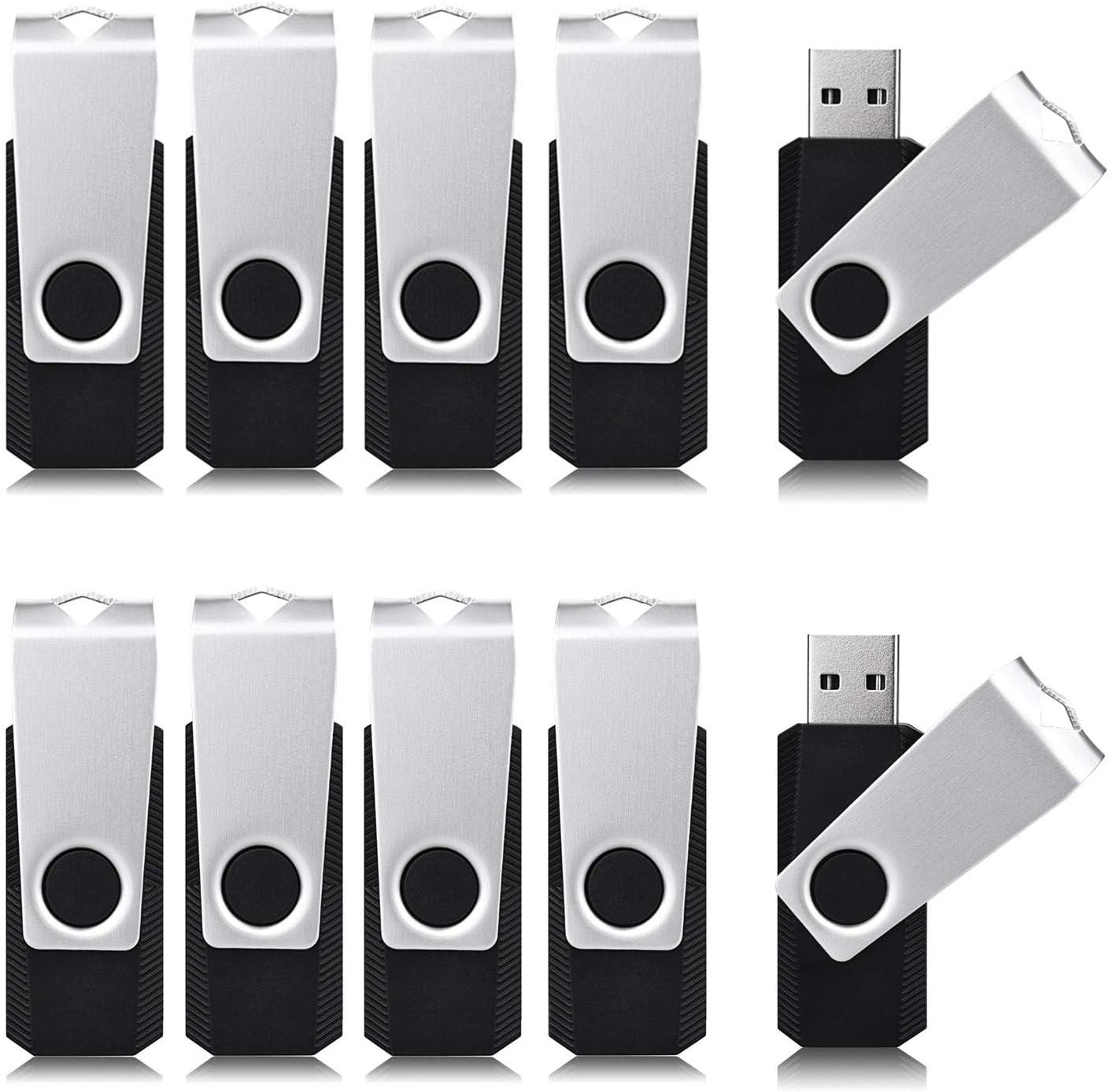 Qeeray 50 Pack USB Flash Drive 4GB Flash Drive USB2.0 Swivel Thumb Drive Memory Stick Black