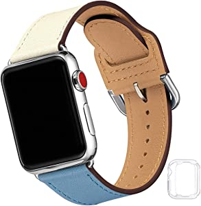 Compatible with Apple Watch Band 38mm 40mm 42mm 44mm, Soft Leather Watch Band Replacement Strap for iWatch SE Series 6 5 4 3 2 1 (Ivory&GrayBlue with Silver, 38MM/40MM)