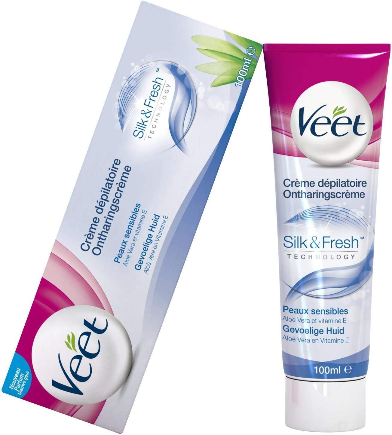Veet - Depilación Crema - Piel Sensible - 100ml: Amazon.es: Salud y cuidado personal