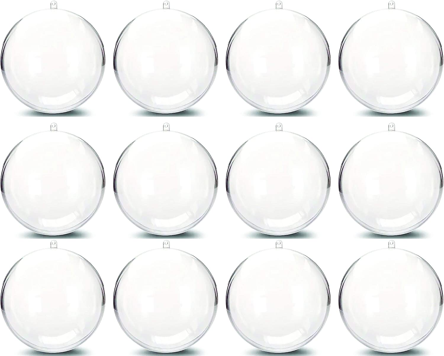 Plastic Ball Ornament, 80mm, Clear, Pack of 12 (80 mm) (80mm)