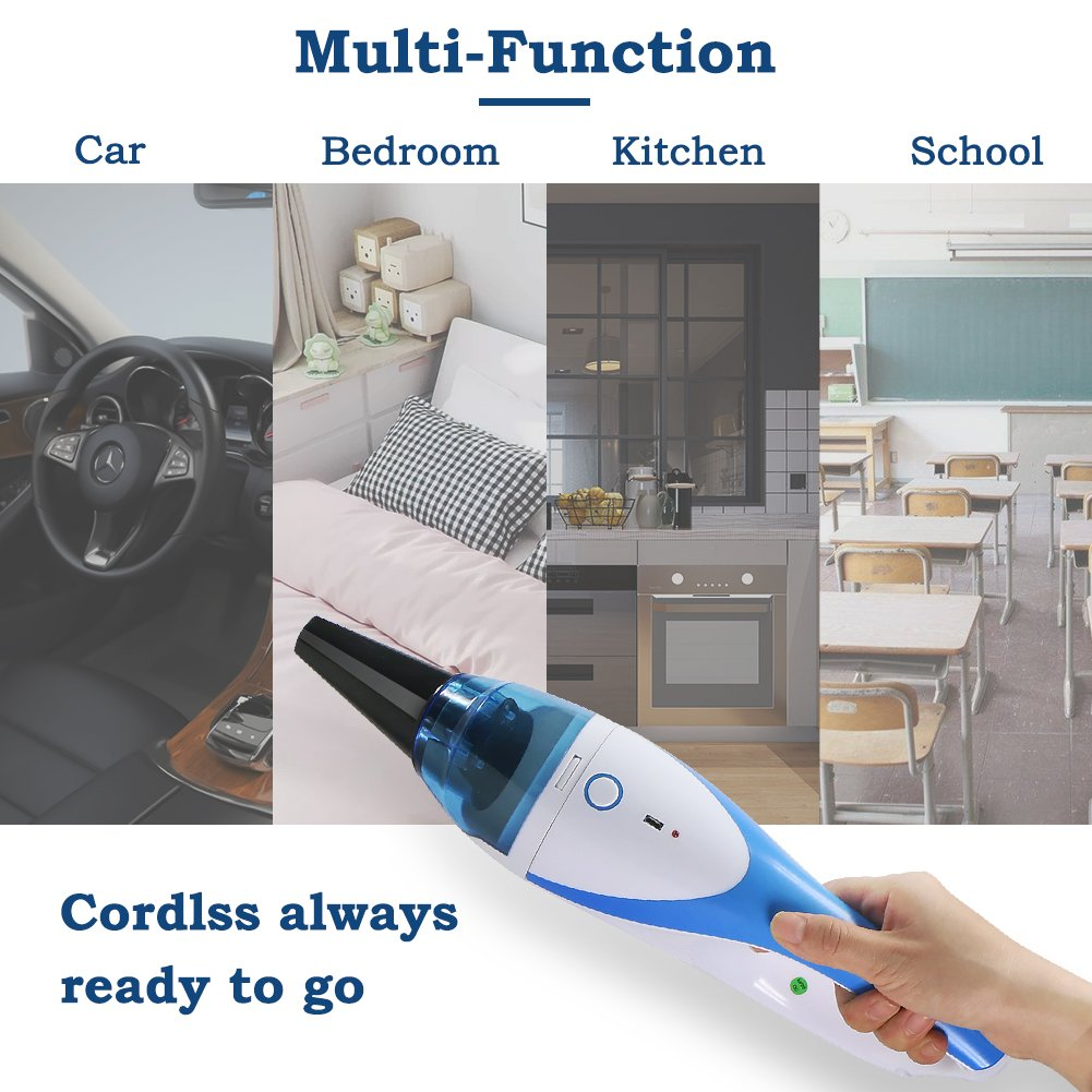 Mini Handheld Vacuum,1400PA Powerful Portable Cordless Vacuum Cleaner, Rechargeable Vacuum with 2 Nozzles for Pet Hair,Dirt,Crumbs etc by FORTUNE DRAGON (Image #3)