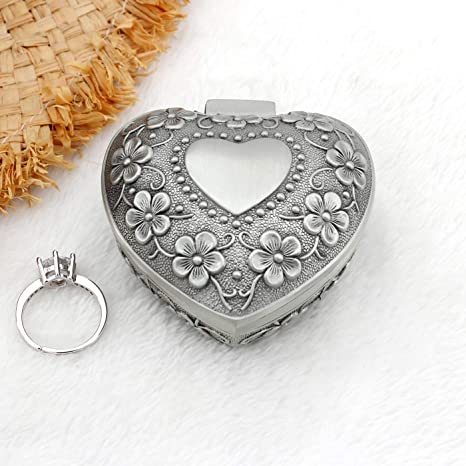Victorian Picture Engagement Ring Presentation Box White Washed Gold Toned Metal Jewelry Box Footed Heart Shaped Jewelry Box