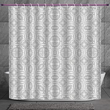Stylish Shower Curtain 2 0 Grey Decor Lace Victorian Damask Antique Baroque Design With Oriental Effects Renaissance Art White Fabric Bathroom Decor Set With Hooks Amazon In Home Kitchen