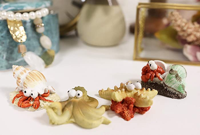 Ebros Whimsical Nautical Underwater Sea Creatures Starfish Octopus and Hermit Crabs Small Miniature Figurines Set of 4 DIY Fantasy Collection Accessories for Terrariums Mini Planters Fairy Gardens