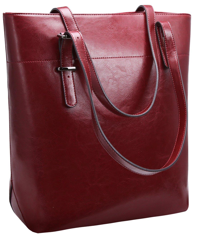 "Iswee Shoulder Bag Leather Tote Top Handle Handbag Satchel 13.3"" Macbook Bags for Women (Wine)"