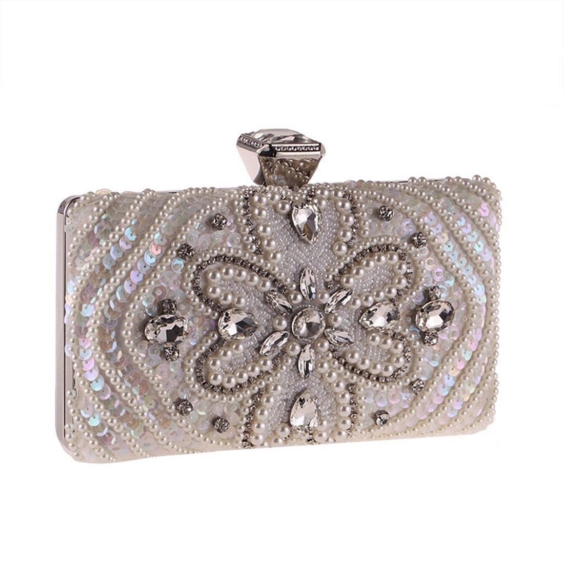 Carriemeow Womens Dress Bag Clutch Beaded Diamond-encrusted Evening Bag Wedding