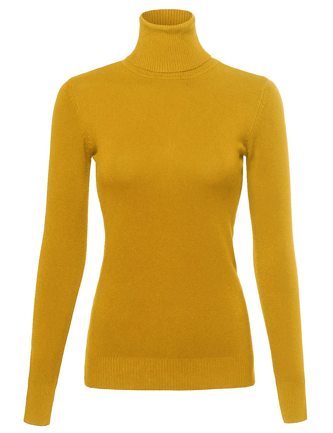 Made by Emma Women's Basic Slim Fit Lightweight Ribbed Turtleneck Sweater