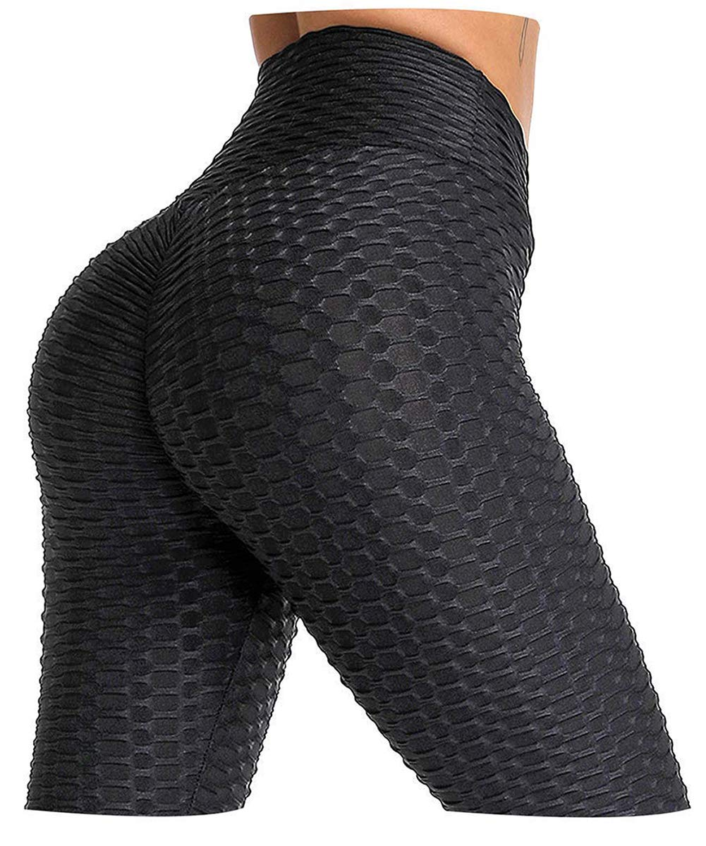 AIMILIA Butt Lifting Anti Cellulite Sexy Leggings for Women High Waisted Yoga Pants Workout Tummy Control Sport Tights Black