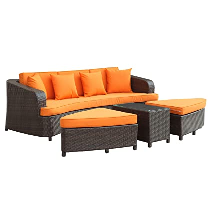 Modway Monterey Outdoor Wicker Rattan Sectional Sofa Set, Brown and Orange