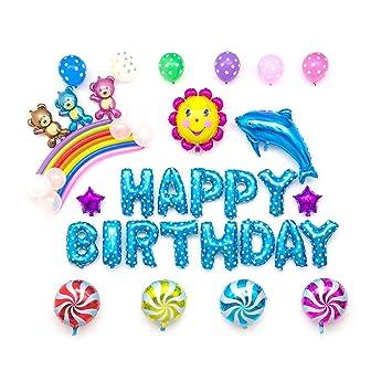 Sipobuy HAPPY BIRTHDAY FELIZ CUMPLEAÑOS Aluminio Foil Mylar Aire lleno Globos Decoraciones Kits para Bebé Cumpleaños / Fiesta / Aniversario, Oso azul ...