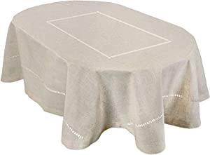 Grelucgo Handmade Double Hemstitch Natural Tablecloth, Oval 60 by 84 Inch