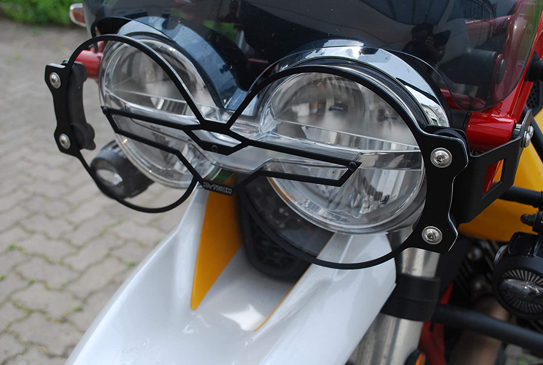 MyTech Protecci/ón de m/áscara de faro en aluminio anodizado negro y policarbonato de liberaci/ón r/ápida para V85TT