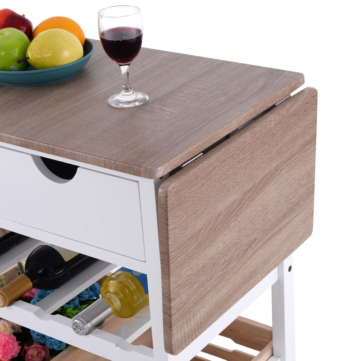 Costzon Kitchen Trolley Island Cart Dining Storage with Drawers Basket Wine Rack by Costzon (Image #7)