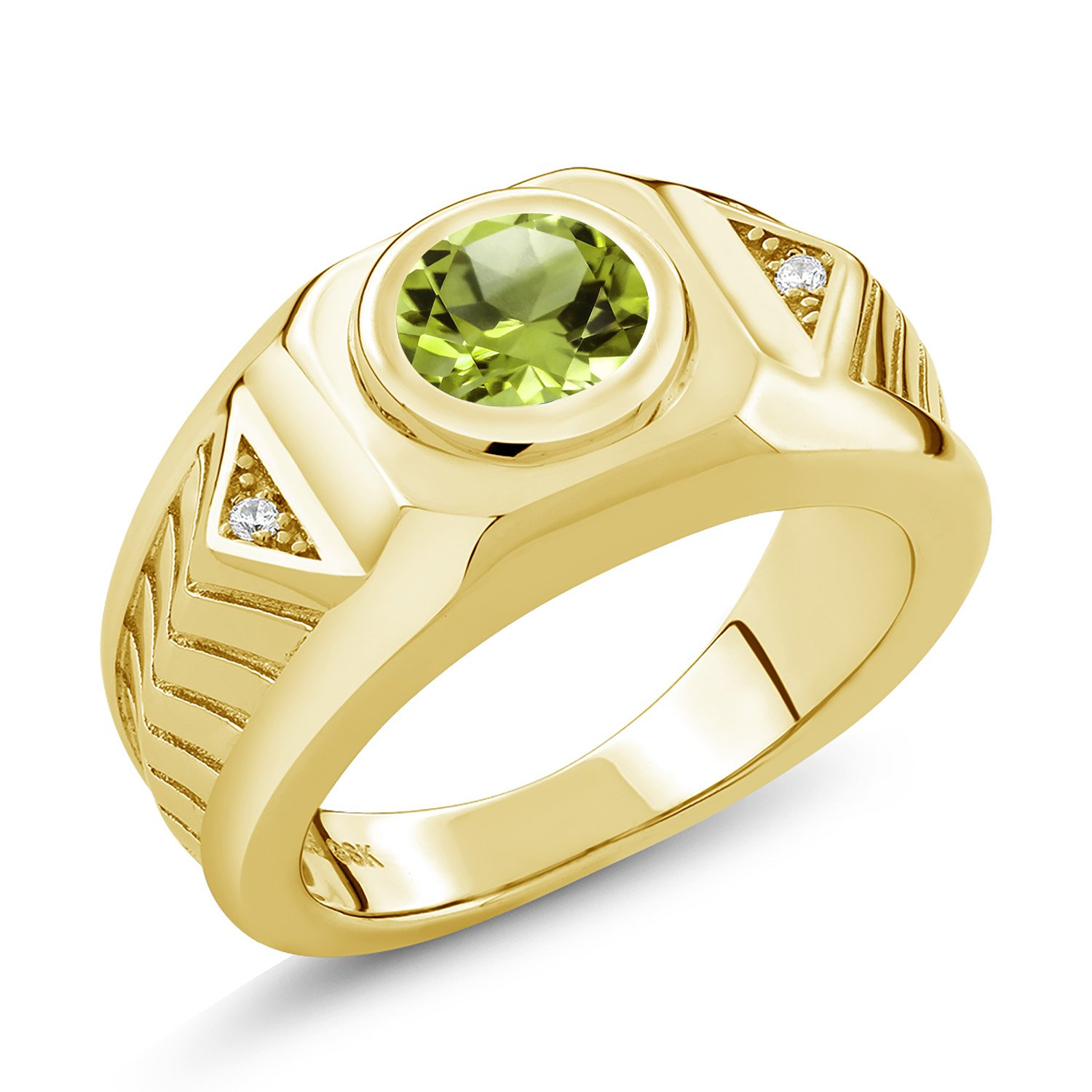 2.03 Ct Round Green Peridot 18K Yellow Gold Plated Silver Men's Ring