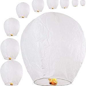 Chinese Sky Lanterns 10-Pack 100% Biodegradable (White)