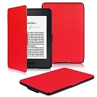PUBAMALL Funda para Kindle (8ª generación - Modelo de 2016), Cubierta de Cuero de la PU para Kindle (8ª generación - Modelo de 2016) (Rojo)