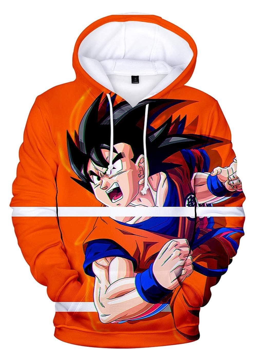 Sweat /à Manches Longues Imprim/é avec Motif Super Goku et Saiyan Broly HUASON Gar/çon Fille Enfants Dragon Ball 3D Imprimer Pull /à Capuche
