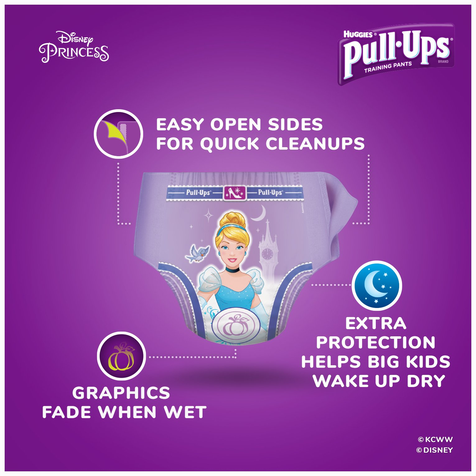 Pull-Ups Night-Time Potty Training Pants for Girls, 2T-3T (18-34 lb.), 23 Ct.- Pack of 4 (Packaging May Vary) by Pull-Ups (Image #2)