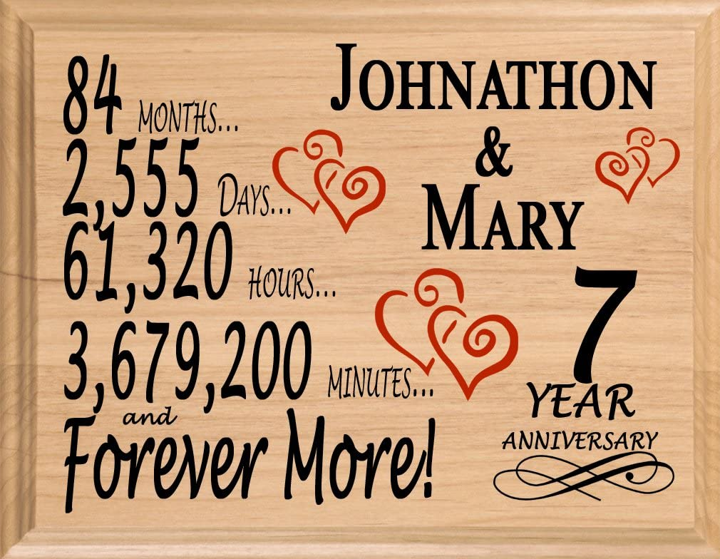 Amazon Com Broad Bay 7th Personalized 7 Year Anniversary Wedding Gift For Wife Husband Couple Him Her Home Kitchen