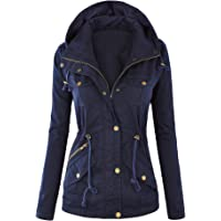 Lock and Love LL Womens Casual Anorak Jacket with Hoodie