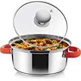 Classic Essentials Stainless Steel Capsule Bottom Casserole with Glass Lid 22 cm