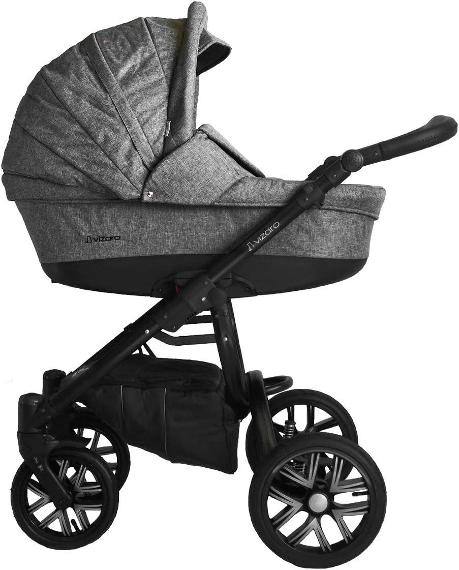 Vizaro PEARL 2020 DÚO 2 en 1 - Cochecito Bebé GAMA LUJO REAL - MARCA ESPAÑOLA - Muy Elegante - Hecho en UE - TEXTILES MUY ALTA CALIDAD - Garantía 3 Años - Textil GRIS Chasis NEGRO