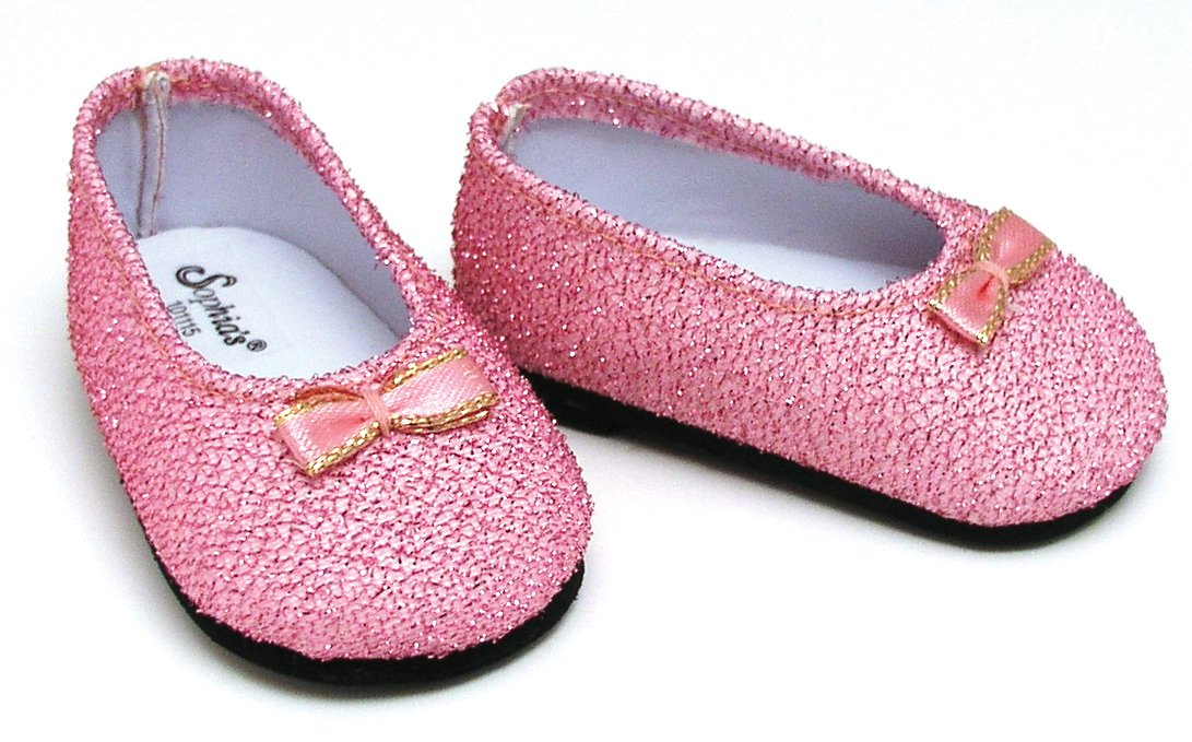2a111247436b4 Light Pink Glitter Shoes, Fits 18 Inch American Girl Dolls, Doll Accessories