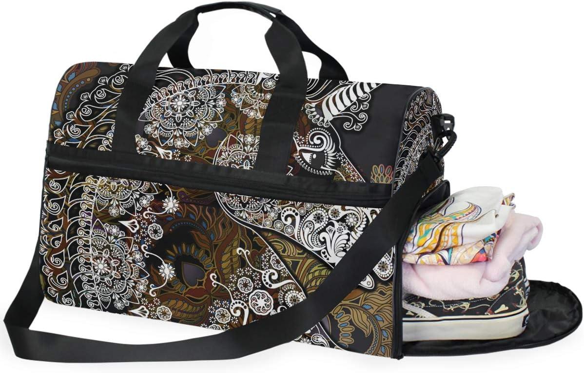 TFONE Tribal Magic Animal Unicorn Duffel Bag Sports Gym Weekend Bags with Shoe Compartmen