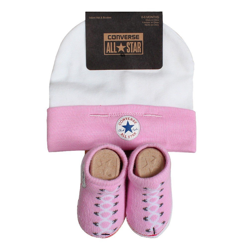 Baby Converse Hat and Booties Set Pink Multicoloured (Chuck Pink) 0-6 Months CNV0008
