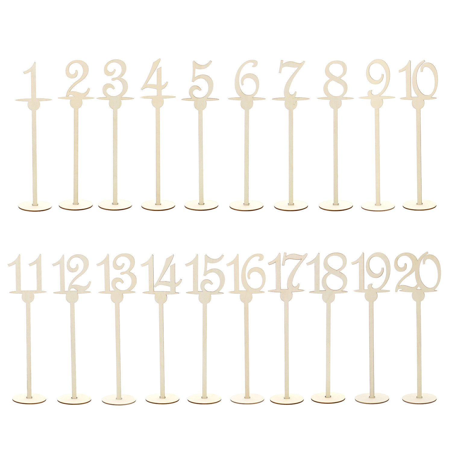 7Penn Table Numbers 1-20 – Wooden Numbered Stands with Underline for Tables at Wedding Receptions, Restaurants, Parties