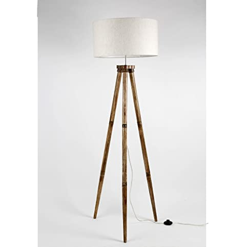 Wooden Tripod Floor Lamp Base Only Mango Wood Folding Decorative Standing  Light