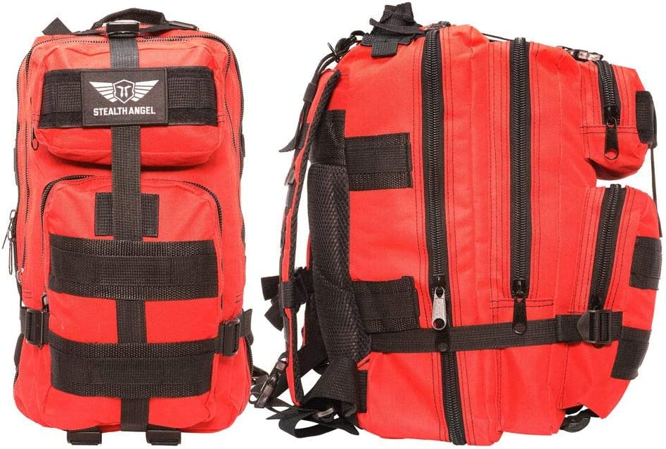  STEALTH ANGEL  2 Person Emergency Preparedness Kit - 72 Hour Red Survival Backpack for Earthquakes, Hurricanes, and Other Natural Disasters