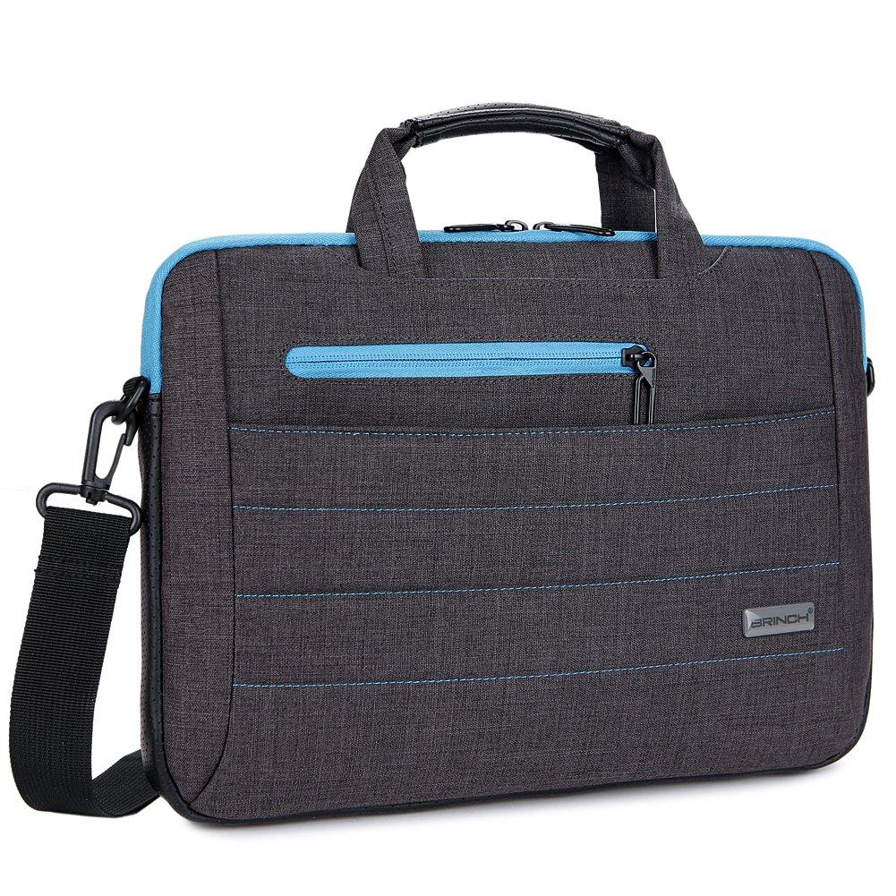 BRINCH 15-15.6 Inch Multi-functional Suit Fabric Portable Laptop Sleeve Case Shoulder Messenger Bag Briefcase for Laptop, Tablet, Macbook, Notebook - Black-Blue