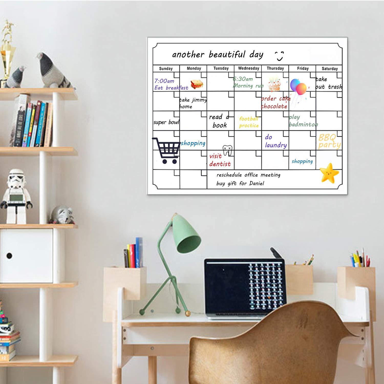 Magnetischer Monatsplaner Magnettafel, Trocken Abwischbar K/ühlschrank-Whiteboard f/ür Erwachsene und Kinder, Men/üplaner, n/ützliches Notizbrett + 4 Stifte+1 magnetischer Radierer(40x30cm