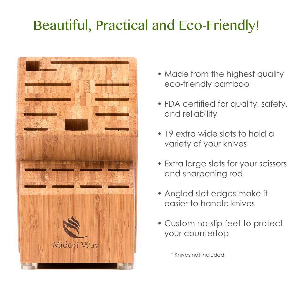 Bamboo Knife Block (Without Knives), Best For Storage Of Your Quality Cutlery. Stylish and Eco-Friendly, This Beautiful & Professional Wooden Block Will Be A Great Kitchen Addition. By Midori Way by Midori Way (Image #5)