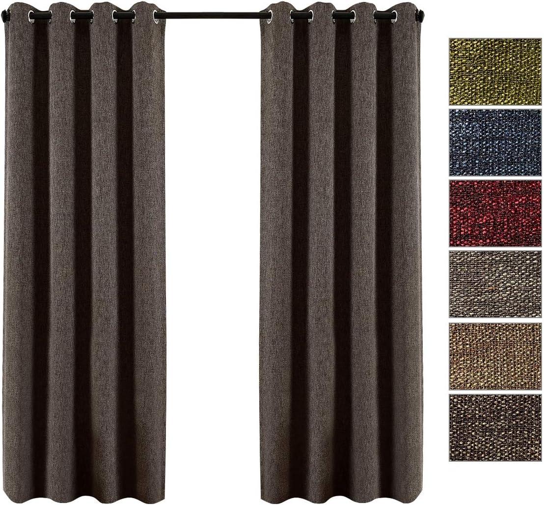 "QINUO HOME 54"" Drop Linen Blackout Curtains for Bedding Room -Theraml Insulated Room Darkening Eyelet 2 Curtain Panels, Dark Brown, Width 66"" x Depth 54"" 2x66""x54"" Dark Brown"