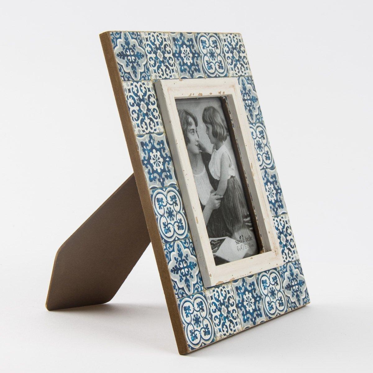 Bilderrahmen Holz Ornament blau Vintage 20x25cm: Amazon.de: Küche ...