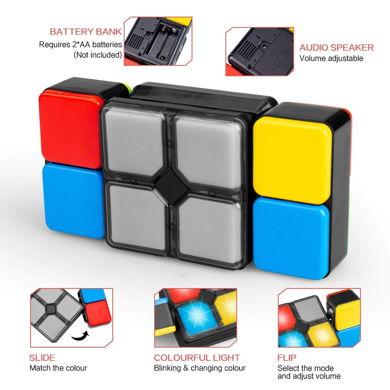 Shonmau Parent-Child Interactive Toy, Children Interactive Electronic Music Cube Puzzle Game for 6+ Ages, Improve Eyesight/Memory/Response Ability, Best Gift for Holiday (Not Equipped AA Battery) by Shonmau