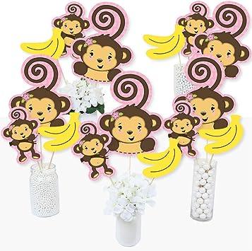 Juego de 15 palos de centro de mesa para fiesta de cumpleaños o baby shower con diseño de mono rosa: Amazon.es: Juguetes y juegos