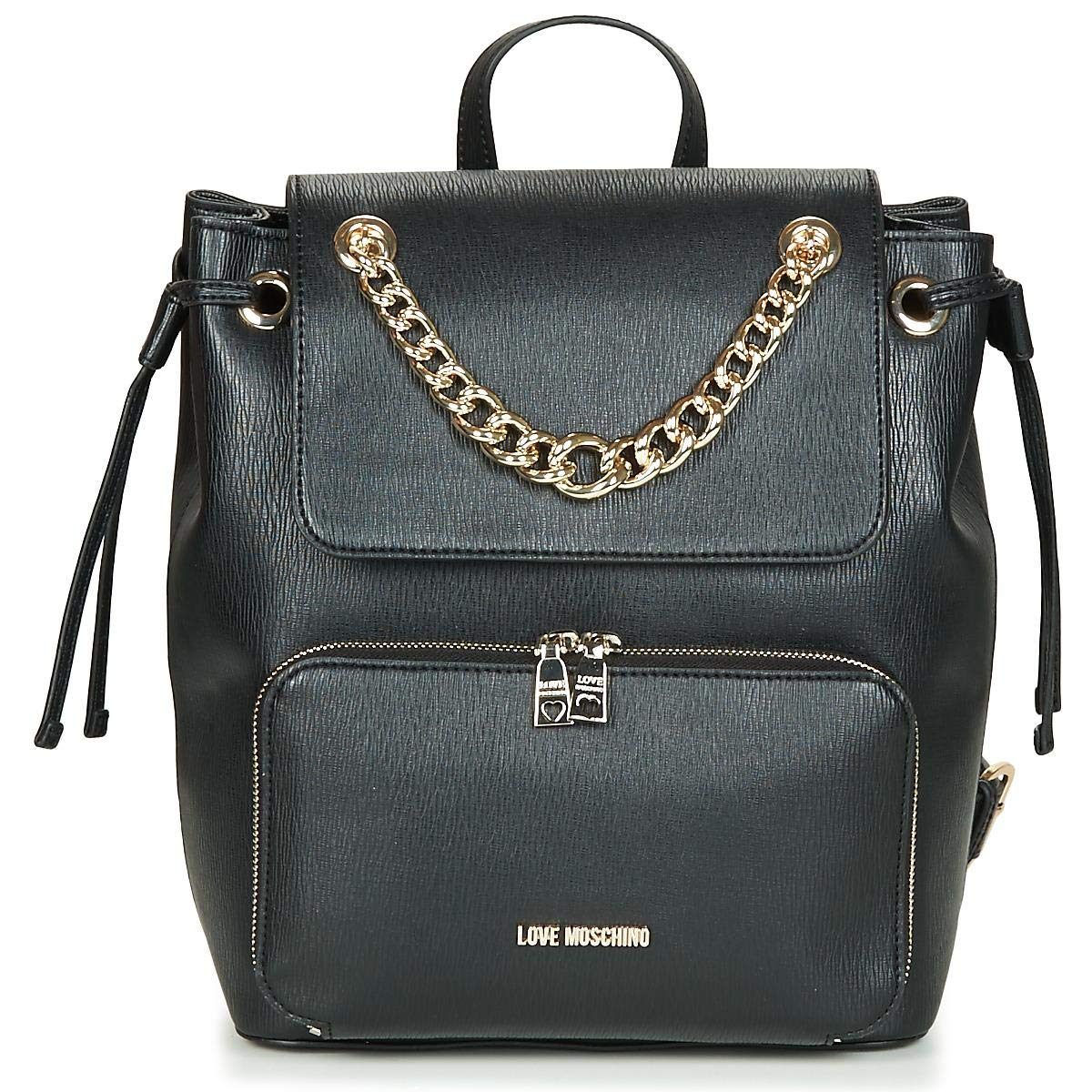 161d13e61ac Amazon.com | LOVE MOSCHINO Flap Backpack With Gold Chain, Black ...
