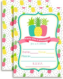 """Party Like a Pineapple Birthday Party Invitations, 20 5""""x7"""" Fill in Cards with Twenty White Envelopes by AmandaCreation"""
