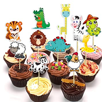 32 Pack Cute Zoo Circus Animal Cupcake Toppers PicksJungle Animals Cake For